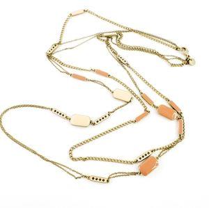 LOFT Necklace Gold Chain Orange Cream Enamel Layer